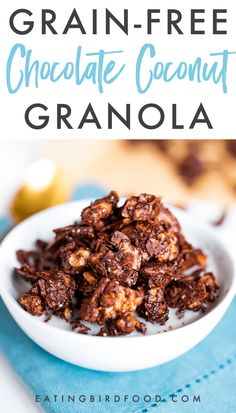 Homemade, chocolate grain-free granola that is low in sugar, low in carbs and also happens to be delicious! This decadent, but healthy chocolate granola is perfect for snacking. Paleo, vegan, and gluten-free. #paleo #glutenfree #lowcarb #lowsugar #granola #paleorecipe #glutenfreerecipe #breakfast