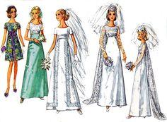 70s Vintage Wedding Dress Pattern Bust 32 1/2 Simplicity 8737 Size 10 UNCUT FF