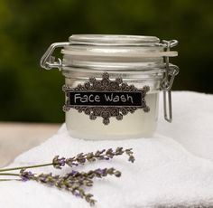 Homemade Face Wash -- (Some people, myself included, are sensitive to baking soda. Ground oatmeal could make a good substitute in this case.) - (Also, beware solid coconut oil will clog your drains. May want to see which carrier oil is best for your skin. Avocado- Olive- Grapeseed - Almond ~  a mix of 70% grapeseed oil and 30% castor oil for clearing his acne.