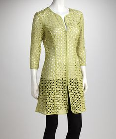 Take a look at this Green Eyelet Jacket by Samuel Dong on #zulily today!