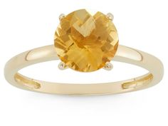 Citrine 10kt Yellow Gold Solitaire Ring 2.04ct