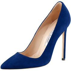 Manolo Blahnik BB Suede 115mm Pump (€325) ❤ liked on Polyvore featuring shoes, pumps, kengät, heels, cobalt, suede pointed toe pumps, high heel shoes, pointy toe high heel pumps, heel pump and pointed toe high heels shoes