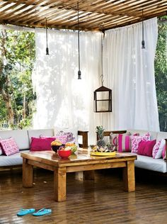 Bedroom interior bohemian curtains ideas for 2019 Casa Patio, Pergola Patio, Pergola Ideas, Modern Curtains, Bohemian Curtains, Bohemian Style Bedrooms, Farmhouse Decor, Interior Design, Outdoor Decor