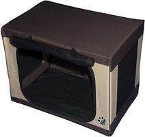 Bring along the convenient Pet Gear Sahara Travel-Lite Soft Pet Crate on your next trip with your faithful four-legged companion. This travel friendly crate sets up in seconds without tools and can be folded completely flat, so it won't take up precious space in the car or in your home. It's great for indoor or outdoor use with a water-resistant nylon covering and a waterproof liner that can be removed and easily cleaned. Your pup will enjoy the large roll-up side flap that lets him keep an…