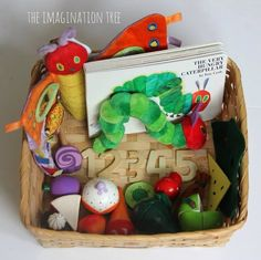 The Very Hungry Caterpillar Storytelling Basket - The Imagination Tree The Very Hungry Caterpillar Activities, Hungry Caterpillar Party, Bug Crafts, Preschool Crafts, Art Therapy Children, Construction Birthday Parties, Construction Party, Treasure Basket, Imagination Tree