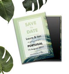 Tropical destination save the date wedding magnet