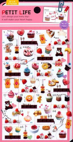 cute small sweets cupcakes calendar stickers from Japan 2