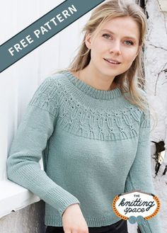 Looking for a basic knitwear to complete your fall and winter wardrobes? Try this simply chic knitted sweater with subtle lace details. This easy knitting pattern is knitted top down with double neck, round yoke, and texture pattern. | Discover over 4,500 free knitting patterns at theknittingspace.com #knitpatternsfree #fallknittingpatterns #fallknittingproject #fallknits #winterknittingpatterns #winterknits #knitpatterns
