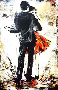 Red Dress Original Watercolor Painting Just Dance Love by LanasArt