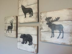 Wildlife Stencil Set of 4 Wooden Pallet by lifeisartstudio