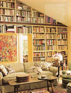 slanted ceiling bookshelves | living.with.books. | Pinterest