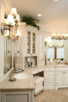 Corner Vanity Design Ideas, Pictures, Remodel and Decor Corner Bathroom Vanity, Grey Bathroom Tiles, Master Bathroom, Master Baths, Ikea Bathroom, Bathroom Furniture, Bathroom Interior, Bathroom Ideas, Bath Cabinets