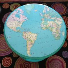 circle the world, vintage map decoupaged to painted table by Rebecca Waring-Crane