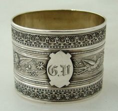 Aesthetic Style American Coin Silver Napkin Ring 1880
