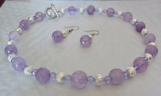 """Beaded Amethyst 18 1/2"""" Inch Necklace & Matching Earrings Set - Handcrafted. $24.95, via Etsy."""