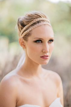 Ready to Ship, Rose Gold Beaded Headband Item# 620, Bridal Hair on Etsy, $110.00