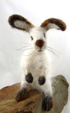 needle felted angor bunny by sendsunshine