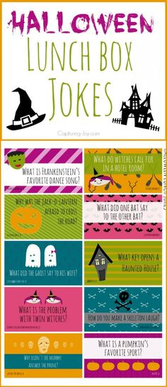 Free Printable Halloween Lunch Box Jokes, fun for the kids and their friends. Halloween Jokes are the perfect addition to your kid's school lunch. These printable lunch box jokes are great to have on hand to slip into lunch bags! Halloween Tags, Holidays Halloween, Halloween Crafts, Halloween Party, Halloween Humor, Halloween Printable, Halloween Goodies, Halloween Decorations, Gaudi