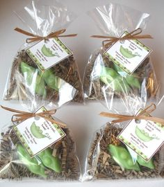 Two Peas in a Pod. Bath soap favors in cellophane bag with tag.