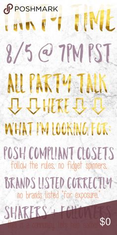 HOSTING 8/5 I'm hosting my first posh party next month!  Please tag posh compliant closets for me to consider for host picks, especially newer ones!  Theme to come.  Thanks! Other