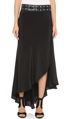 Haute Hippie Asymmetrical Maxi Skirt - Black