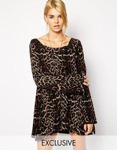 One Teaspoon Exclusive Swing Dress in Leopard Print