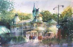 Restaurang Flustret i Uppsala. På Arches 300g, 38x56 cm. Uppsala, Arches, Presents, Watercolor, Painting, Art, Gifts, Pen And Wash, Art Background