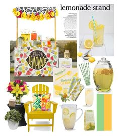 """""""Pucker Up: Lemonade Stand"""" by melissa-de-souza ❤ liked on Polyvore featuring interior, interiors, interior design, home, home decor, interior decorating, blomus, Schott Zwiesel, Sur La Table and Serena & Lily"""