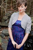 black and white plaid wool cropped jacket over multi-colored strapless dress  Erin Meschke design
