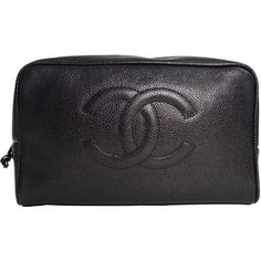 Pre-Owned Chanel Cosmetic Pouch in Black Caviar Skin ($475) ❤ liked on Polyvore featuring beauty products, beauty accessories, bags & cases, black and chanel