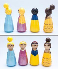 Set of 13 Disney Inspired Princess Peg dolls por RylieRene en Etsy