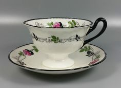 SHELLEY PATTERN NUMBER 11190 TEA CUP AND SAUCER (PERFECT)