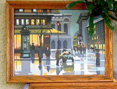 VINTAGE Paint By Number PBN PARIS France Framed  // FunkAndMore Vintage