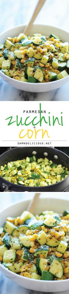 Parmesan Zucchini and Corn - A healthy 10 minute side dish to dress up any meal.