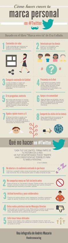 Cómo hacer crecer tu marca personal en Twitter. Infografía en español. #CommunityManager
