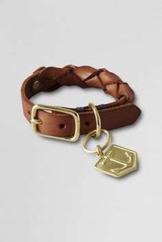 braided leather dog collar by lands end.