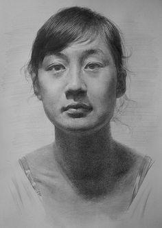 """""""20140123"""" - 人体_顔, pencil {female head asian woman face portrait drawing} zephyr0713.deviantart.com"""