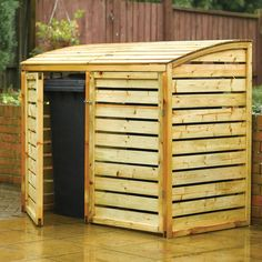This shiplap wooden double bin store is ideal for storing up to two wheelie bins. Built In Storage, Storage Bins, Recycling Storage, Triple Bin Store, Bin Store Garden, Bin Shed, Patio Storage, Garden Bike Storage, Houses