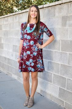Alexis Floral Shift Dress in Burgundy - My Sisters Closet