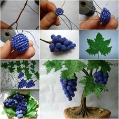 If you love making beaded crafts to decorate your home, you will like this idea - DIY Bead and Wire Grape Tree. Must be a great gift for your friends. Beaded Flowers Patterns, French Beaded Flowers, Wire Flowers, Beading Patterns, Grape Tree, Grape Vines, Beaded Crafts, Jewelry Crafts, Beads And Wire