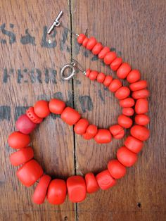 Chunky and unique red handmade polymer clay bead necklace via Etsy