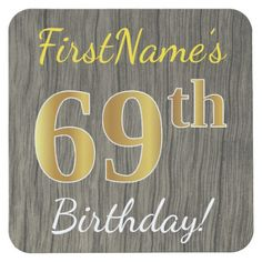 Faux Wood, Faux Gold 69th Birthday + Custom Name Square Paper Coaster