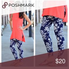 Navy and White Paisley Print Leggings Navy and White Paisley Print Leggings. One size fits most (2-12 comfortably) 92% polyester 8% spandex! Adorable pattern! Brand new with tags! Infinity Raine Pants Leggings
