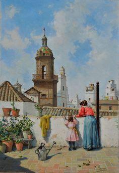 """""""Azotea gaditana"""". José Pérez Sigimboscum (1841-1909). Museo de Cádiz. España"""