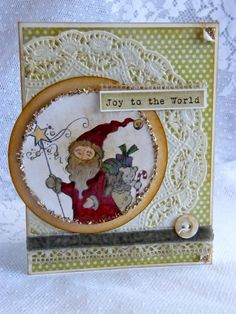 Virginia Fynes using #Stampendous Star Santa and #MayArts ribbon and trims to create a terrific #Christmas card idea!