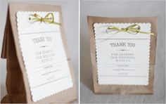 Favors :: Goodie Bags, simple ribbon and scalloped white shape with printed text.  Very duable, and elegant at the same time .  Would be so sweet with some patterned paper die cut accents.