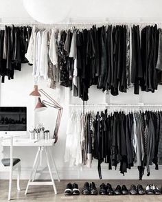 10 Attractive Open Closet Ideas For Sophisticated House Closet Vanity, Wardrobe Closet, Closet Space, Open Wardrobe, White Wardrobe, Closet Office, Decoration Inspiration, Room Inspiration, Interior Inspiration