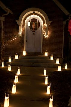 Luminaries For Nighttime Reception Do This On Front Steps And At Porch Probably Should Fake Tea Lights If Doing Paper Bags