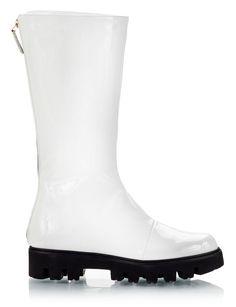 7dd79ed62908 Zamagni White eccopelle lug sole round toe-line rain boots