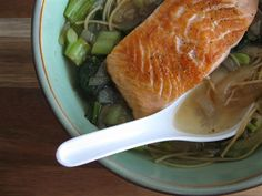 Salmon Noodle Bowl with Greens & Garlic-Ginger-Honey Glaze